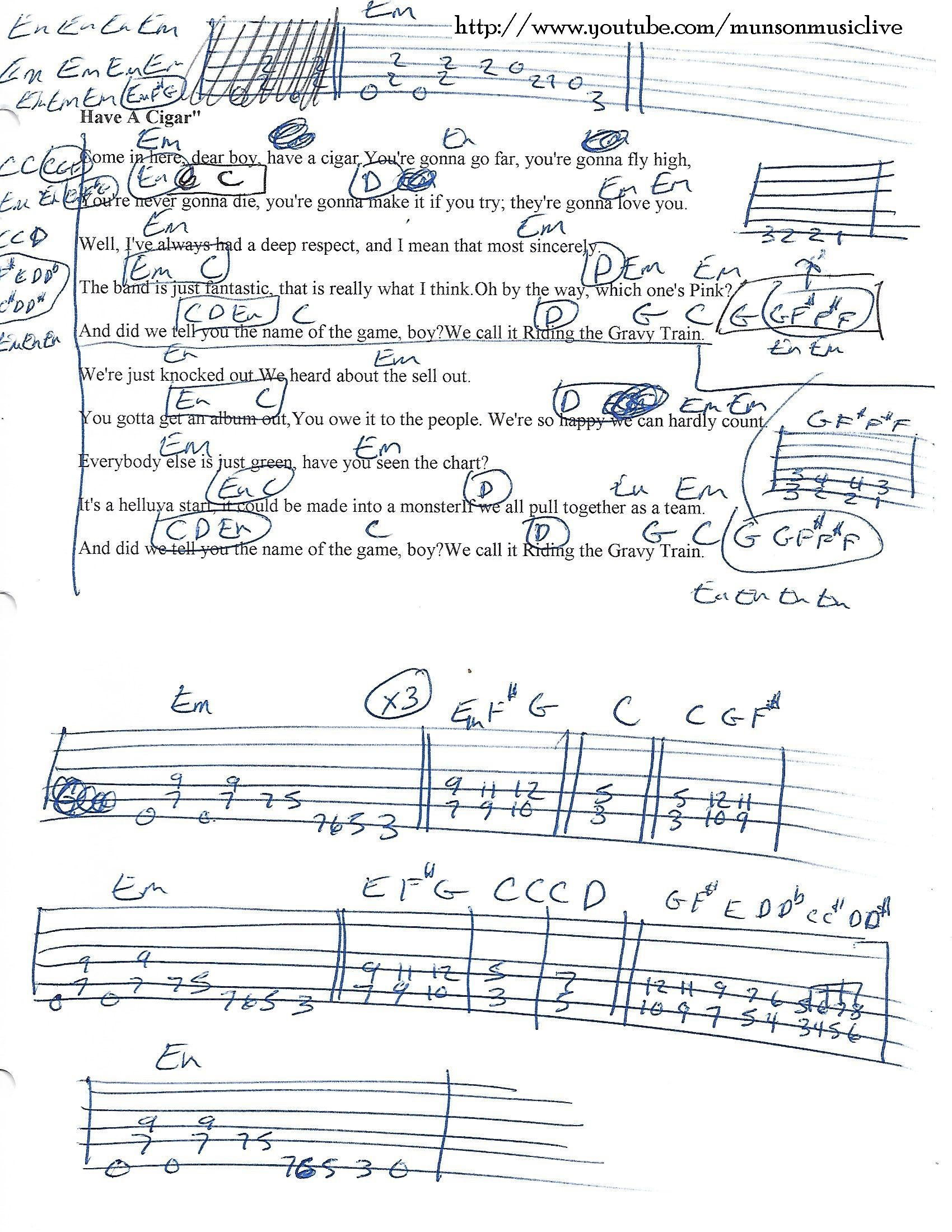 Have A Cigar Pink Floyd Guitar Chord Chart Pinterest Guitar