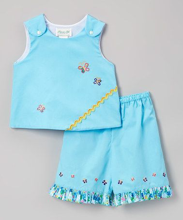 Look what I found on #zulily! Blue Butterflies Top & Shorts - Infant #zulilyfinds