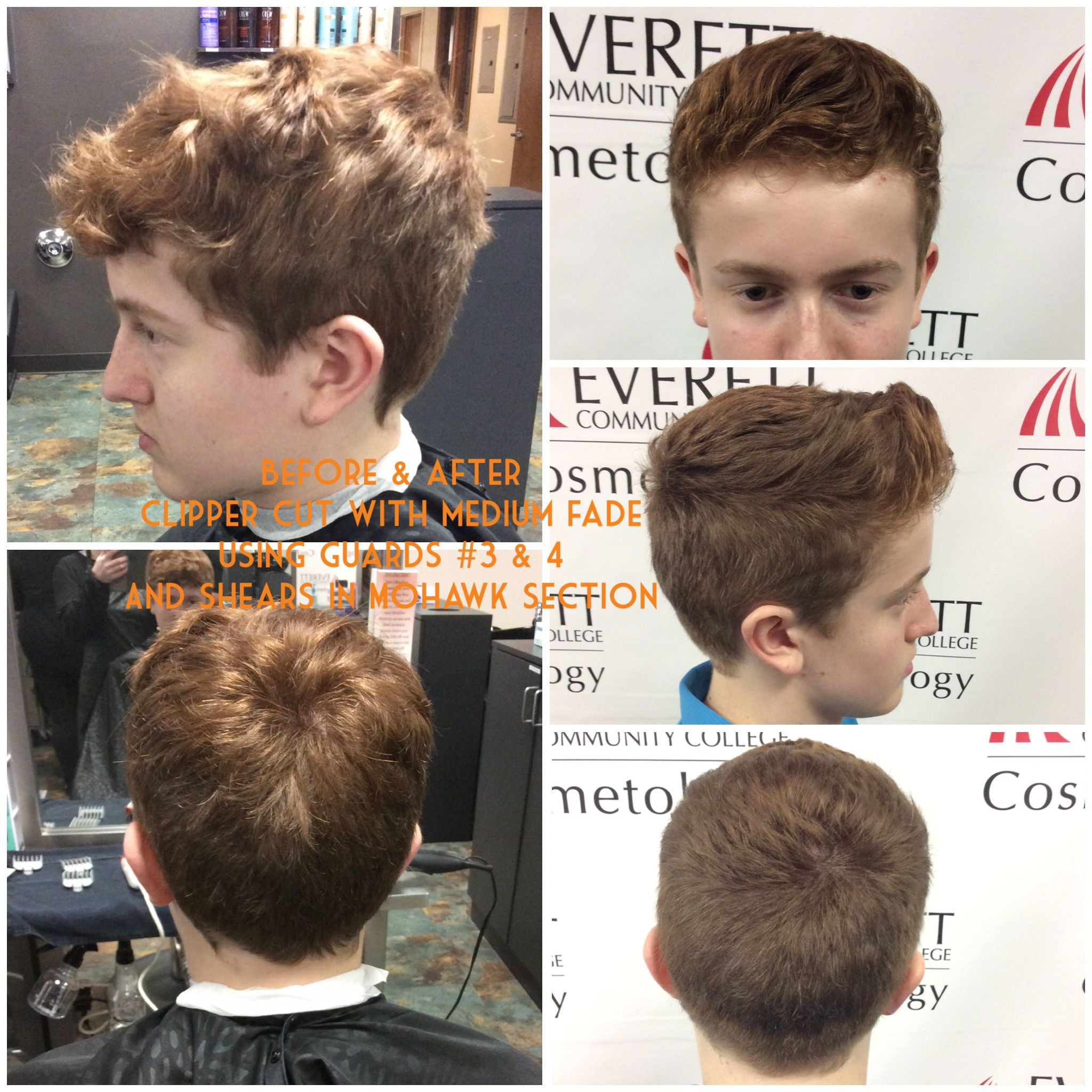 Haircut With Medium Fade Using Guards 3 And 4 And Shears On The Top