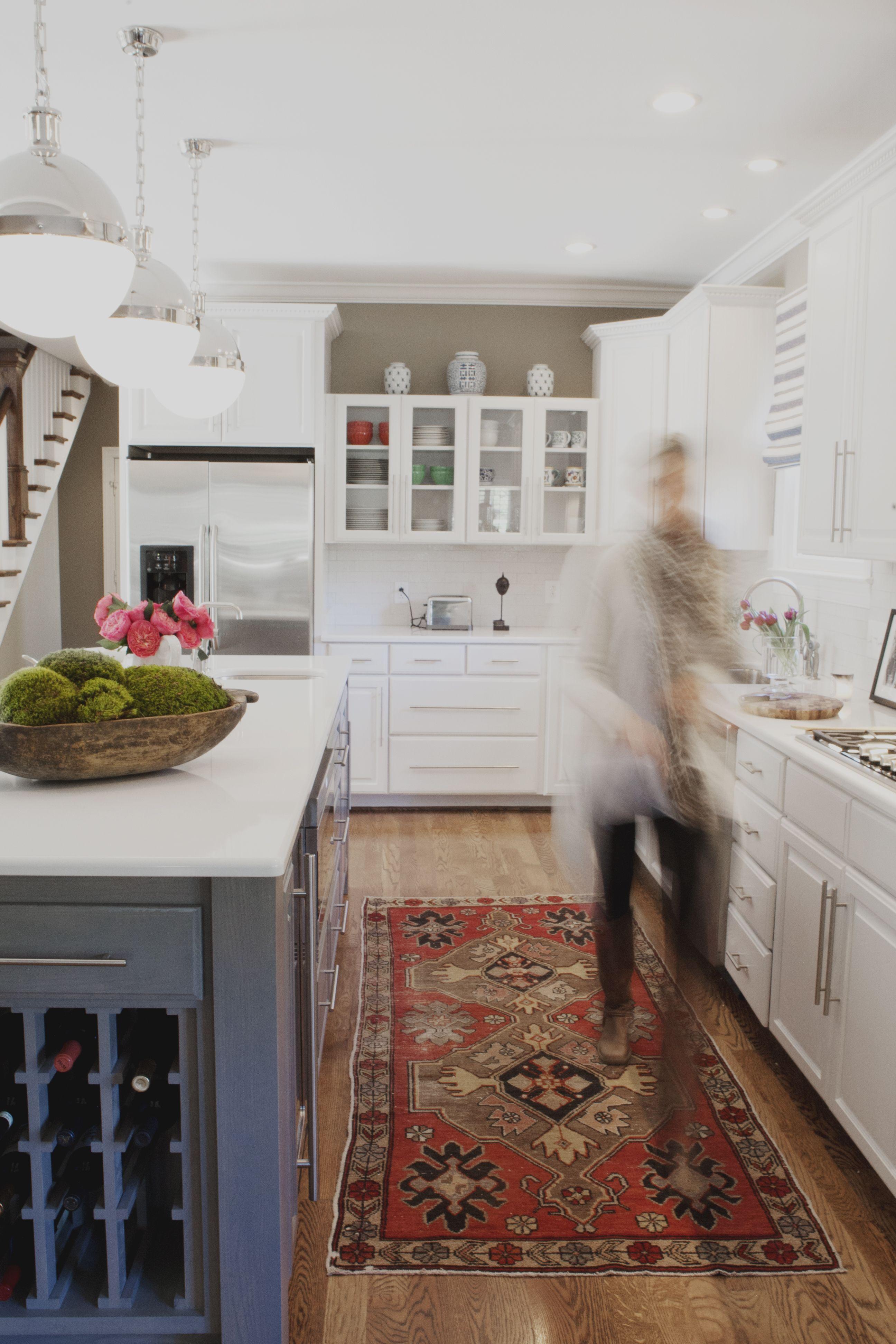 Superieur Nashville Kitchen Remodel, Benjamin Vandiver, Blue Island, White Cabinets,  Hicks Pendants, Blue Striped Window Shade