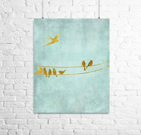 Birds on the Wire... Watercolor Priint with Gold Birds, Wall Art ,Nursery Decor, Foil Art, Wall Art, Metallic Print