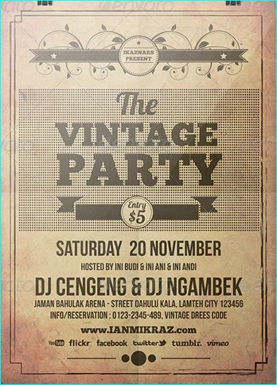 21 Vintage \ Retro for Event \ Party Flyer Templates Vintage - retro flyer templates