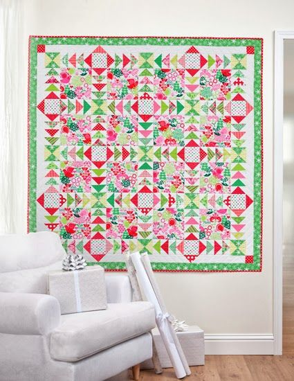 """""""Coming Together"""" quilt from book Simply Modern Christmas. It's made from lots of scrappy Flying Geese and  a fun larger scale print"""