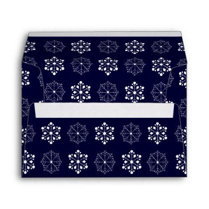 Blue Snow Flake Envelope  Holiday Card Diy Personalize Design