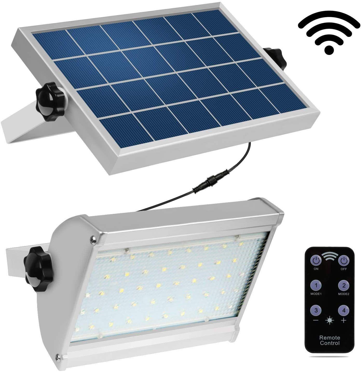 IP65 LED Solar Wall Light Remote Control Motion Sensor Outdoor Garden Lamp