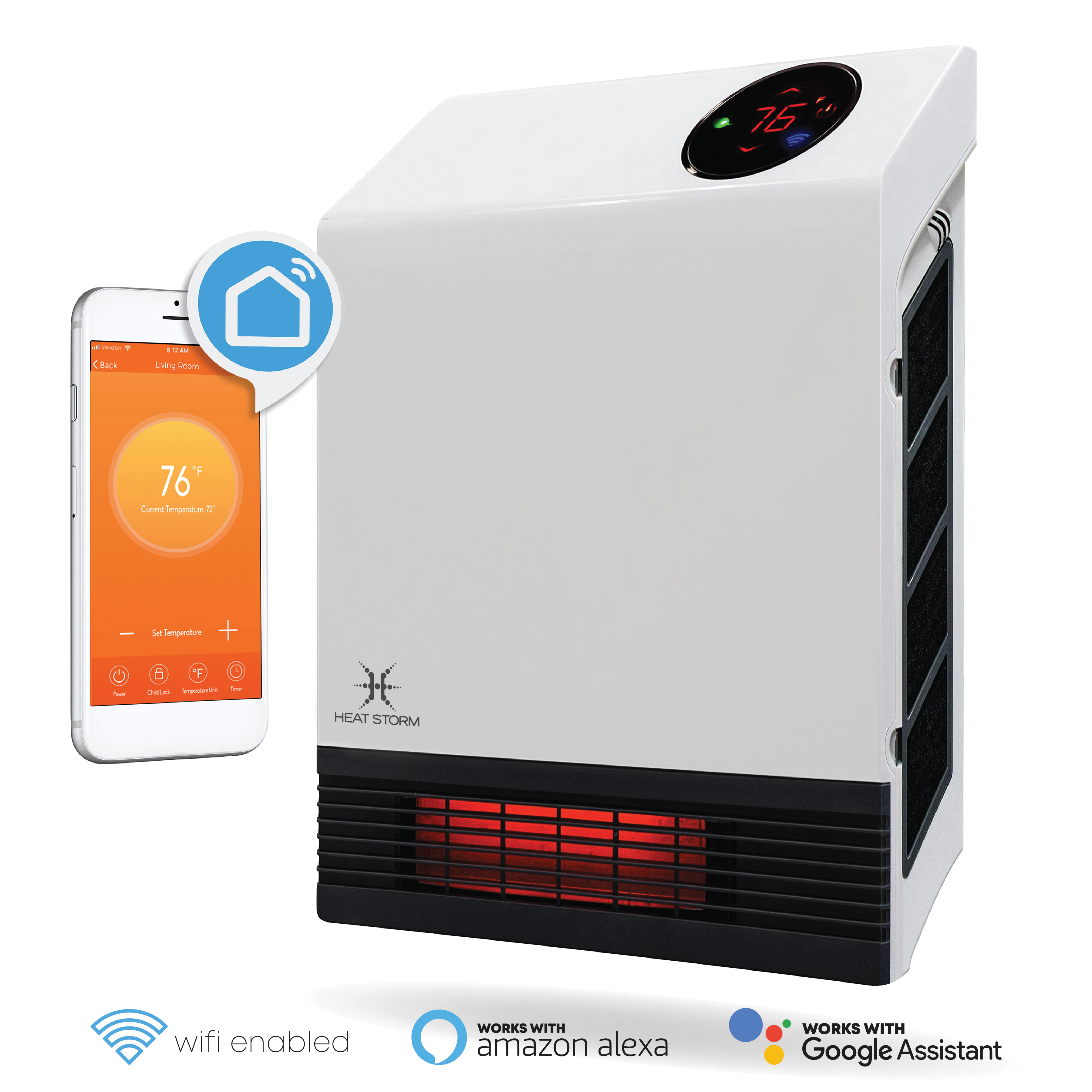 1000 Watt Infrared Space Heater Wall Mounted Wifi