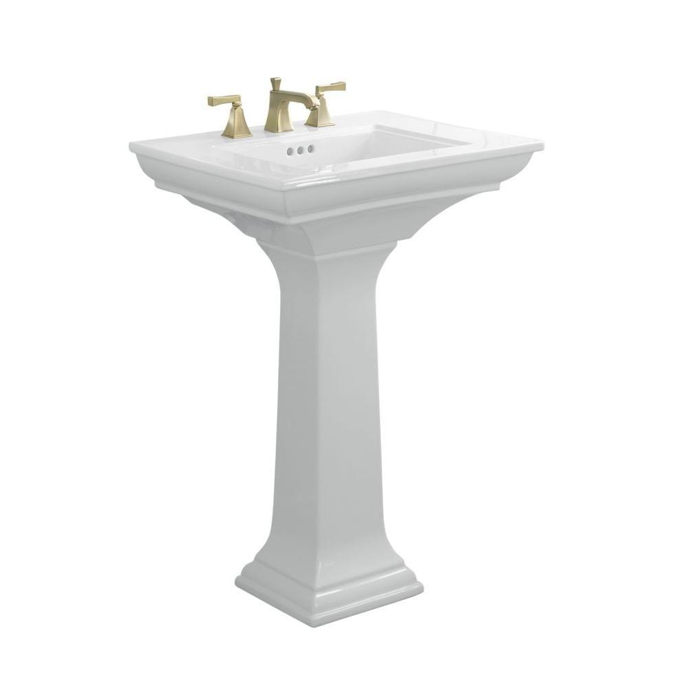 Kohler Memoirs Stately Ceramic Pedestal Bathroom Sink Combo In White With Overflow Drain
