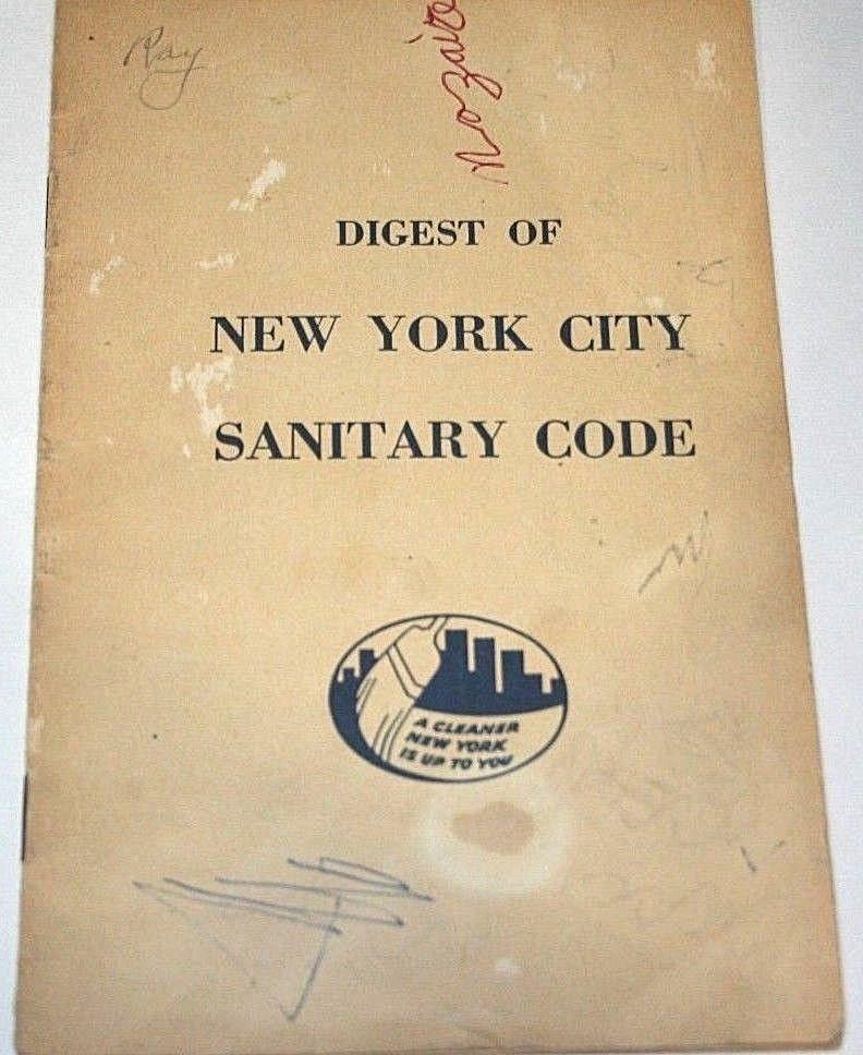 1950s New York City Sanitary Code Book Vtg Garbage Waste