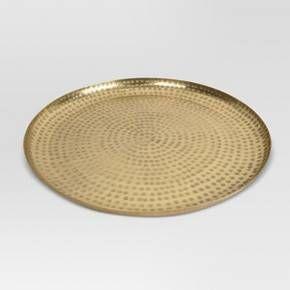 Round Decorative Tray Threshold Hammered Tray  Gold  Trays Decorative Trays And