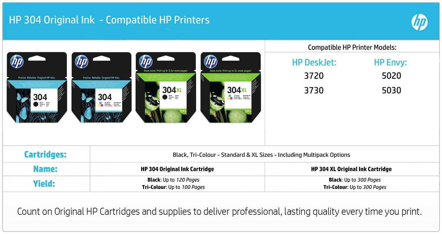 Hp 304 Original Ink Cartridge Colour In 2020 Black Printer Ink