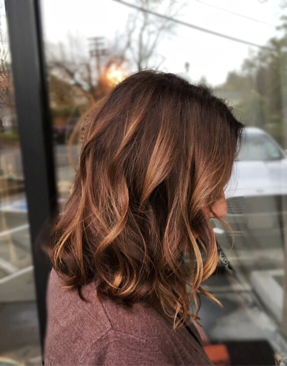A Line Bob Warm Tones Balayage Highlites Rich Browns Brunette Soft Waves