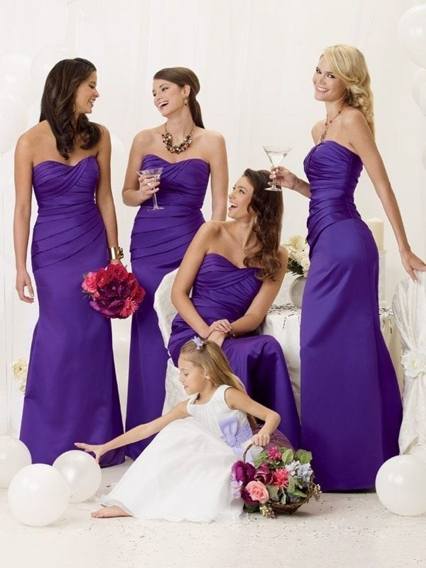 Purple bridesmaid dresses sweetheart ruched satin wedding guest