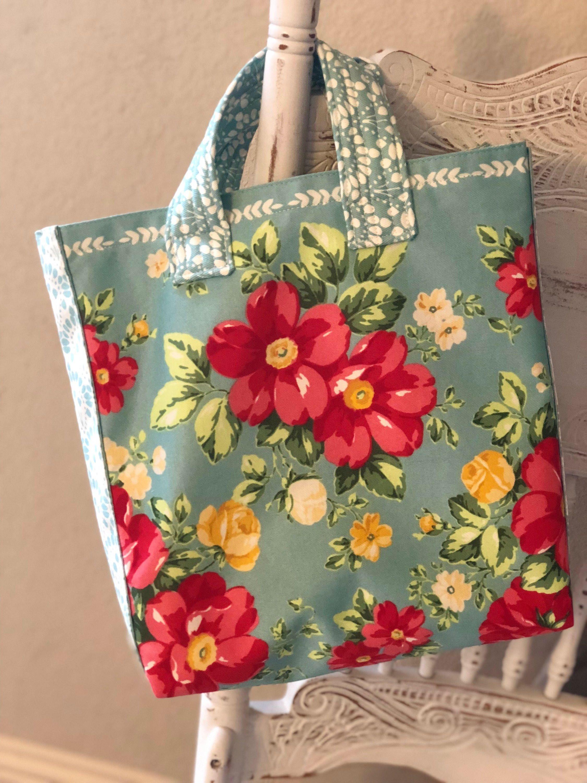 Pioneer Woman *Celia* Floral Plastic Bag Holder Aqua White Towel~ Flea Market
