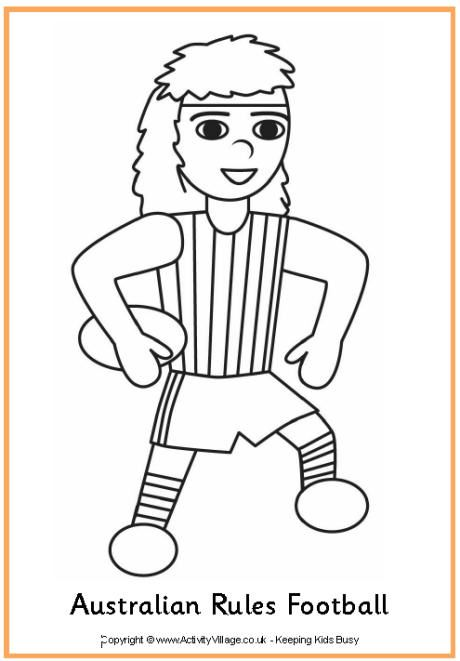 Aussie Rules Football Colouring Page Free Download Pdf Classroom