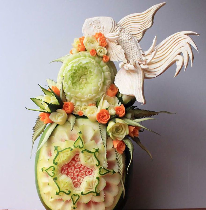 Baresi En Dentelle - Japanese artist turns food into oddly satisfying carved works of art
