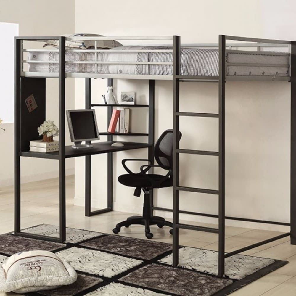 Loft bed with desk full size  Benzara Full Size Metal Loft Bed Silver u Gray  Products