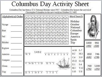 math worksheet : 1000 images about columbus day worksheets printables on pinterest  : Columbus Day Math Worksheets