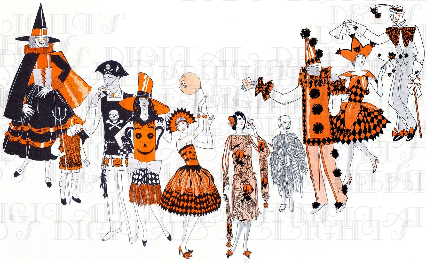 Scanned From Original Source Art Deco Halloween Costumes Etsy In 2020 Halloween Paper Vintage Halloween Costume Ribbon Cards