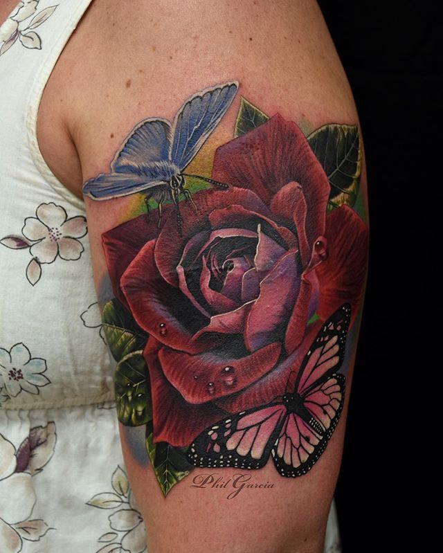 Pin by ︎ⓁⒺⓉⓉⓎ ︎ on ★☆☠ ίΝᵏεƊ☠Ⴎр ☠★☆ | Rose, butterfly tattoo, Rose tattoos, Tattoos