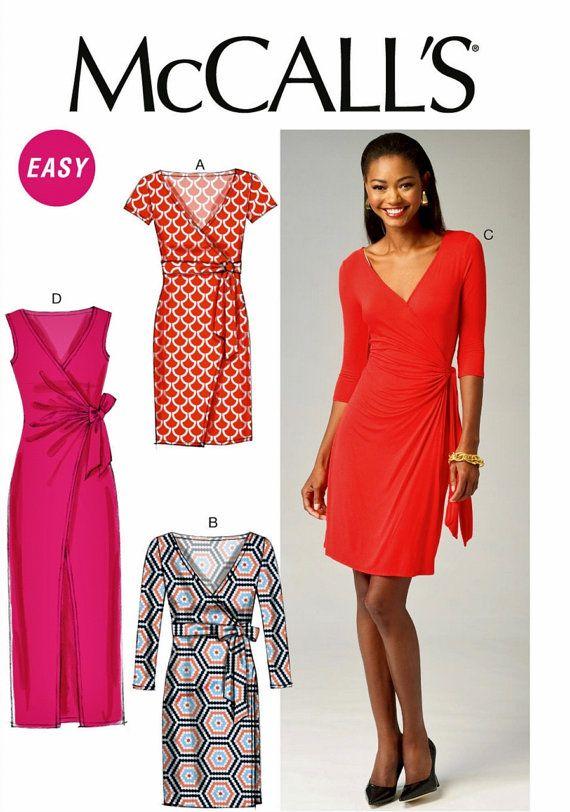 Mock Wrap Dress Pattern Stretch Knit Dress Pattern   Wrap