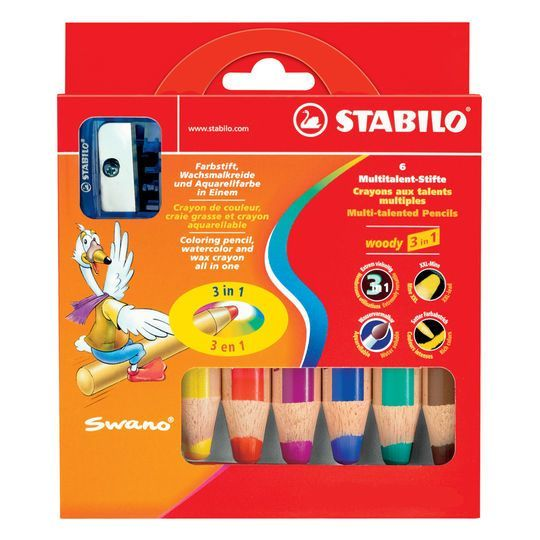 Stabilo Woody 3in1 Thick Colouring Pencils Wax Crayons Watercolour /& Thick Cut