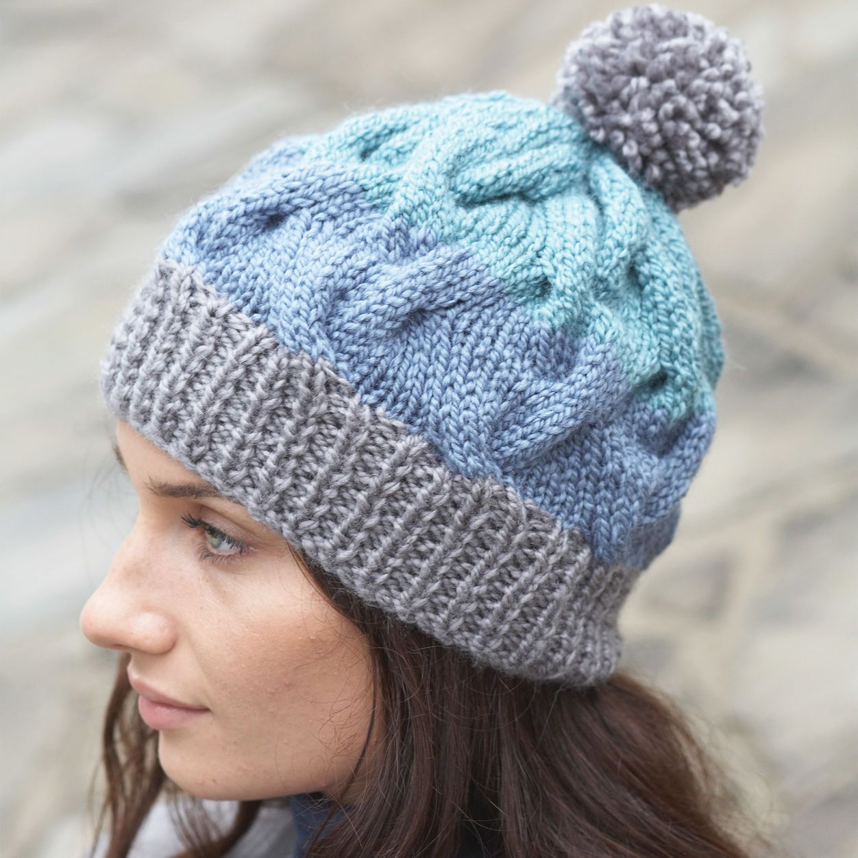 Patons Striped Cable Hat free pattern | Cable knit hat ...