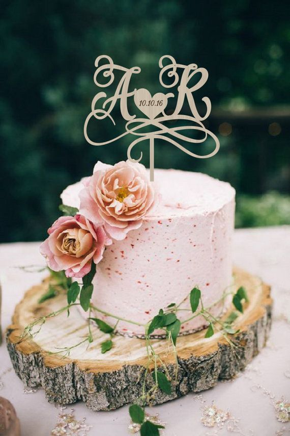 Wedding Cake Topper Initials Cake Topper Personalized Wedding Cake