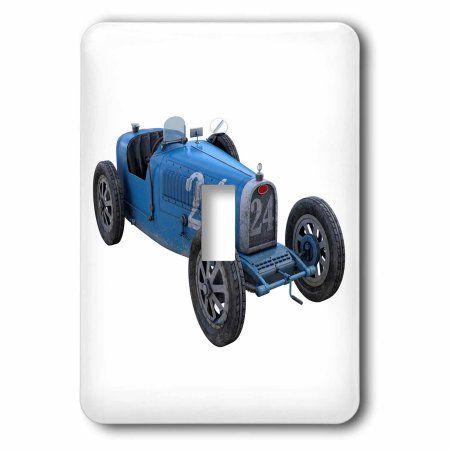 3dRose Classic Light Blue Race Car, Double Toggle Switch
