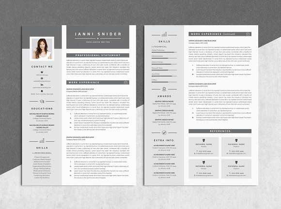 Word Resume Template By Whitegraphic On Creativemarket  A CvS