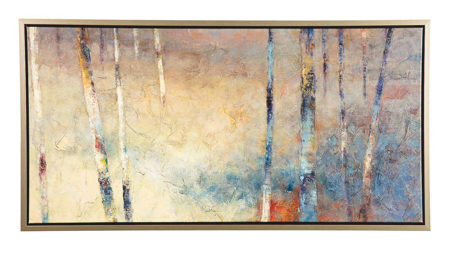 Contemporary woodscape wall art canvas in tan blue gold rust cream ...