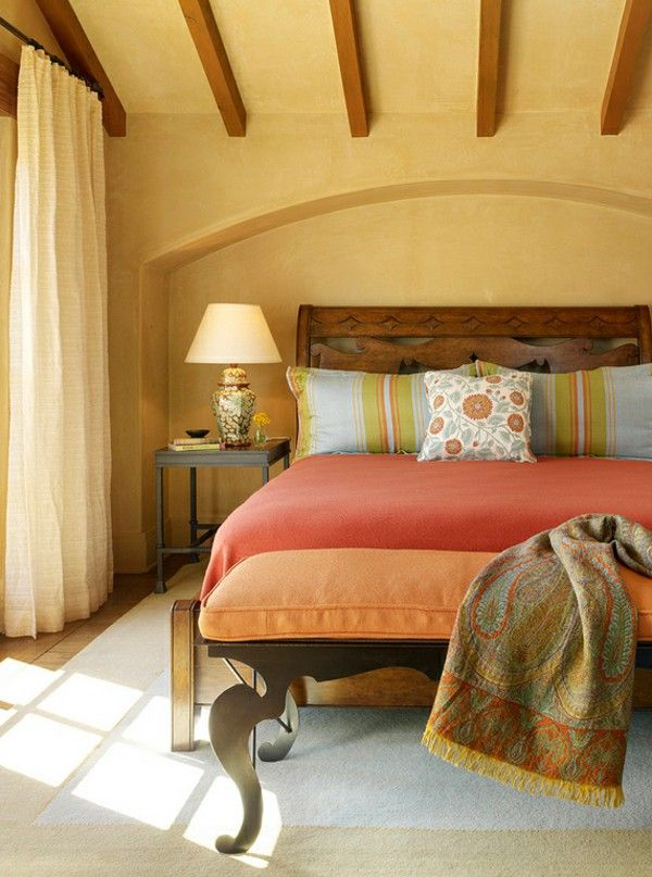 Bedroom Ideas Of Mexican Style Furniture Warm Color Palette