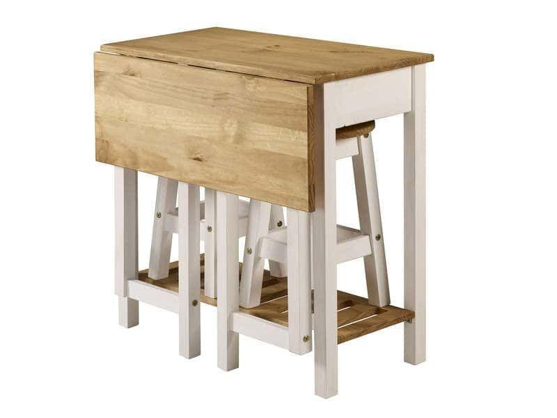 Idee Cuisine Ensemble Table Pliante 2 Tabourets En Bois Massif Sharona Coloris Blanc Vente De Ense Table Pliante Tabouret Bois Ensemble Table Et Chaise