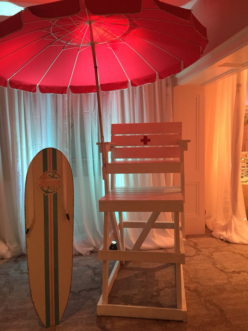 Sign In Board And Lifeguard Chair At Beach Themed Bat Mitzvah