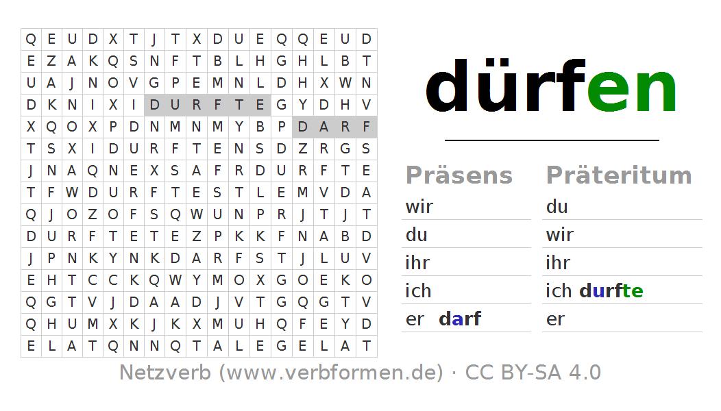 Wortsuchrätsel für die Konjugation des Verbs dürfen | Verben ...