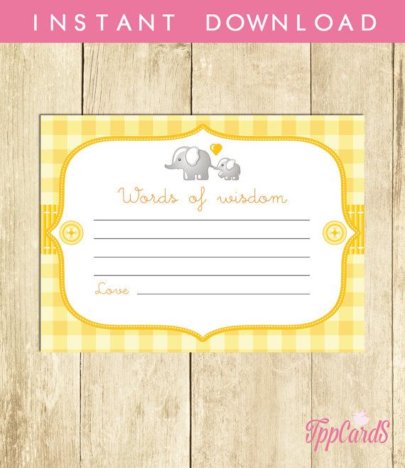 Advice Card Baby Shower Words Of Wisdom Mom To Be Diy By Tppcards