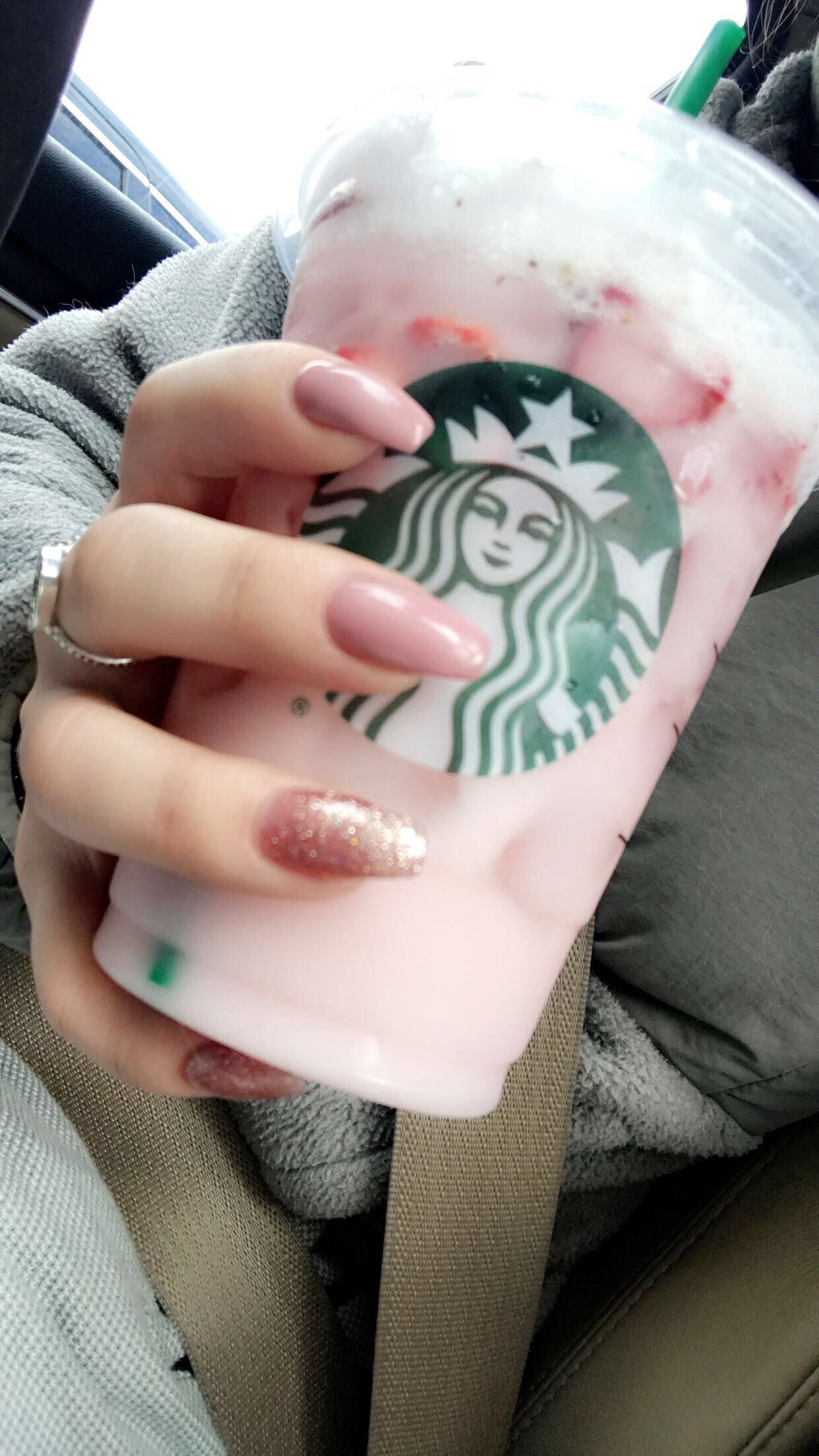 Starbucks Pink Drink Pink Glitter Coffin Nails Nails