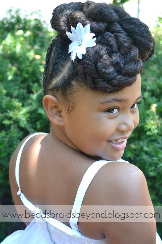Beads Braids And Beyond Natural Flower Girl Updo With Cornrows And Twists Natural Hair Updo Natural Hair Styles Beautiful Natural Hair