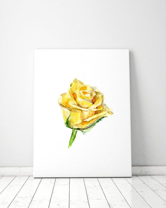 Yellow Rose Art Rose Watercolor Painting Giclee By Zendrawing