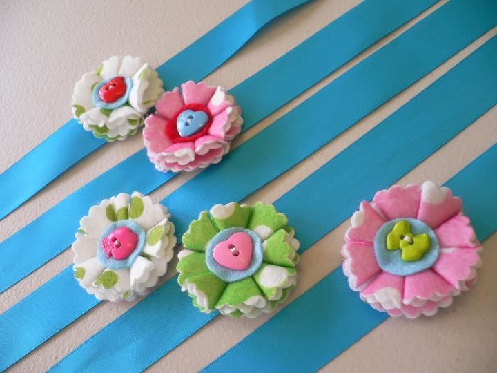 felt corsages for Olivia's party