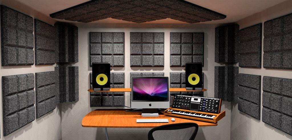 Acoustic Foam Surrounding The Mix Position In A Home Recording Studio    Auralex SonoFlat Grid Acoustic