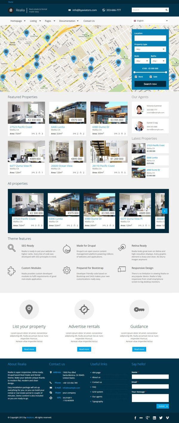 45 Premium Free Html5 Templates Pinterest Real Estate
