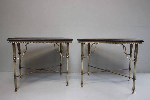 Pair of English 1940s Brass Side Tables. (England)