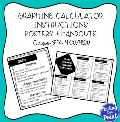 Fresh Ideas - Casio Graphing Calculator Instructions Posters and Handout