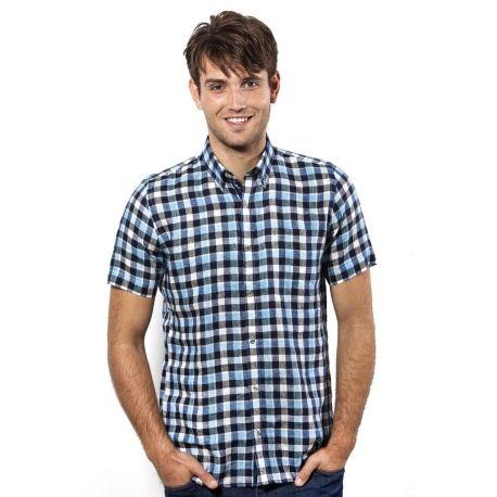 Heerlijk koel voor de warme zomerdagen, dit linnen heren overhemd met korte mouw button down