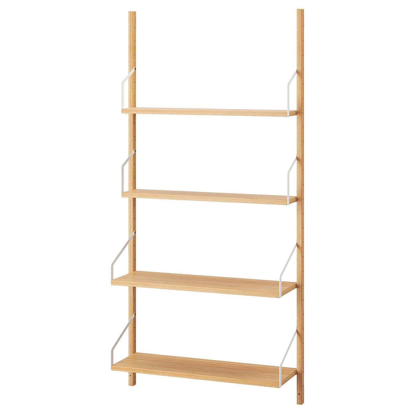 Svalnas Combinaison De Rangement Murale Bambou 86x25x176 Cm Ikea In 2020 Wall Mounted Shelves Shelves Ikea