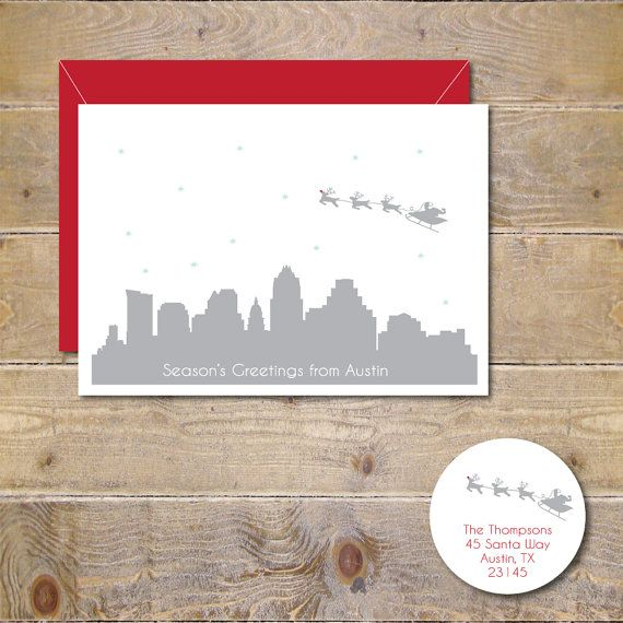 Christmas Cards, Holiday Cards, Austin, Santa, Skyline