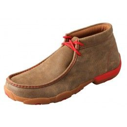 Twisted X Men's Driving Mocs Brown Bomber with Red Accents