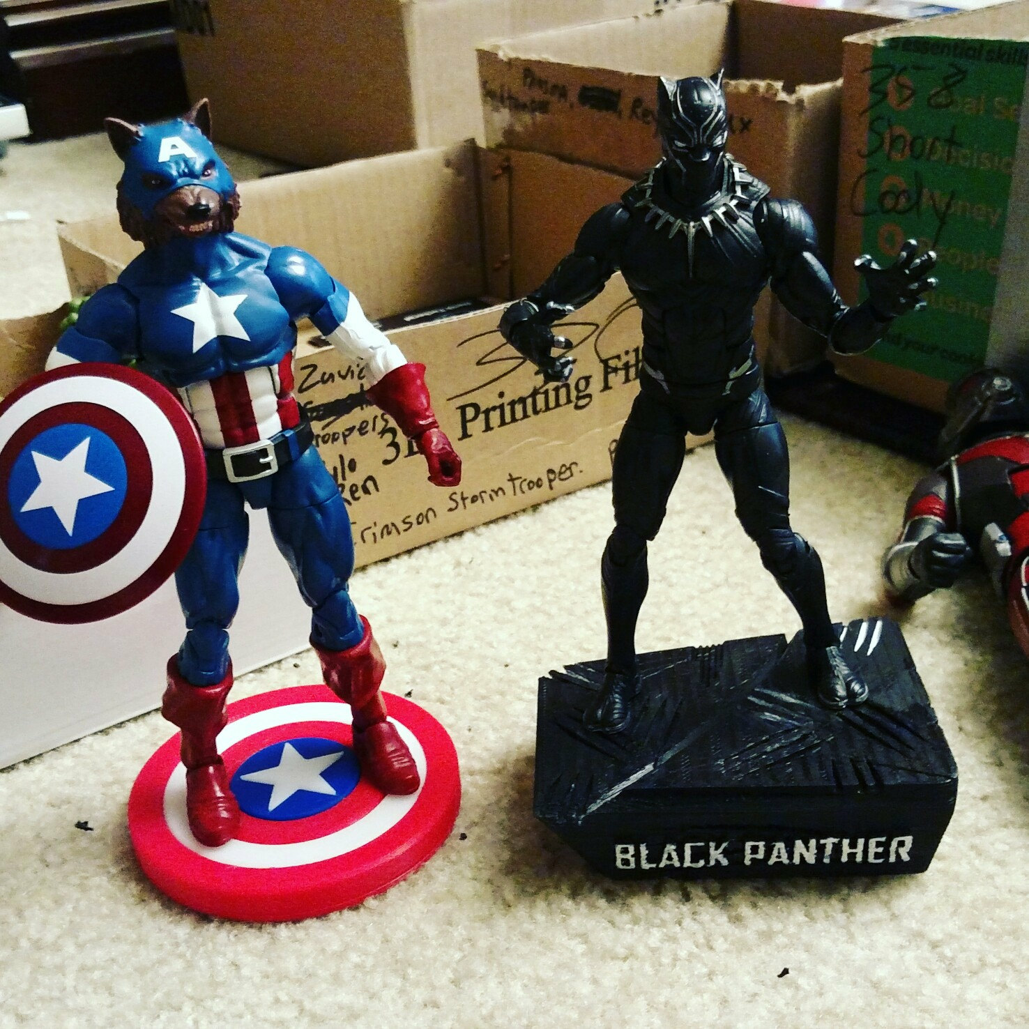 6 Inch Marvel Legends Captain America Warewolf Figure With A Custom Display Stand Marvel Legends Custom Displays Black Panther