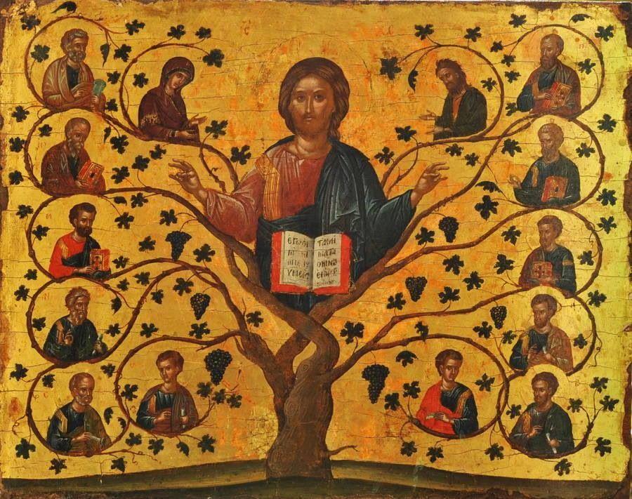 Icon - Christ the Vine | Catholic art, Byzantine art, Painting