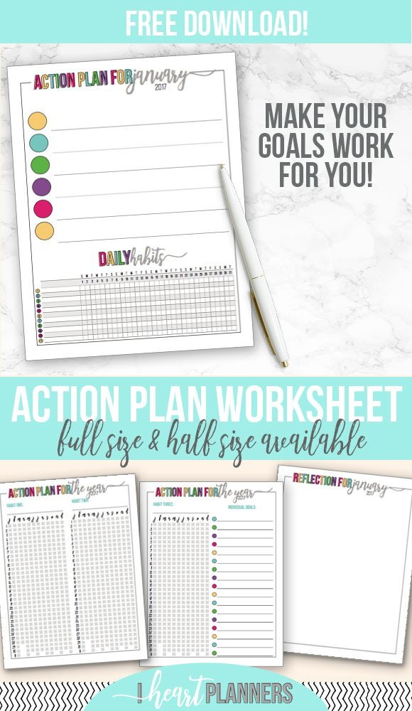 Action Plan Finish Up Your GoalSetting  Free Worksheets Goal